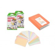 Fujifilm Bundle Set 20 Sheets Fujifilm Instax Polaroid Mini Films, Candy Colorful PU Leather Photo Album/20 Pcs DIY Photo Stickers for Fujifilm Instax Mini 8, Instant Mini 7S, Instax Mini 25, Instant Mini 50S, Instax Mini 90 Films - Orange