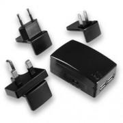 Fontastic Fuente Travel Twin USB 1.5 A Color Negro Incluye EU/UK/USA Conector (lguntusb3ac01)