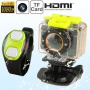 F20 Full HD 1080P Sport Camcorder with Waterproof Case & Wrist Strap Remote Control 5.0 Mega CMOS Sensor 30m Waterproof