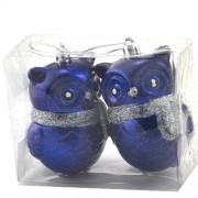 Globuri pentru brad in forma de bufnite albastre