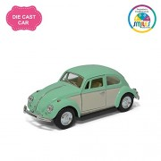 Smiles Creation Kinsmart 1:32 Scale 1967 Volkswagen Classical Beetle Ivory Door Classic Car Toy, Green (5-inch)