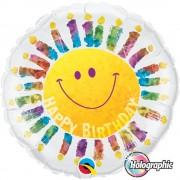 Balon Folie 45 cm Birthday Smile Face Holografic, Qualatex 35344