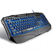 Tecknet X702 Gryphon Illuminated Programmable Gaming Keyboard, 3 Color LED Backlit, 10 Programable Keys, 12 Multimedia Keys, 19 Anti-Ghosting keys, Game Lock Key (Black)