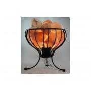 Lámpara de Sal Rosa Himalaya canasta hierro