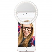 Rechargeable Clip-On Bright LED Ring Selfie Light for Mobile Phones