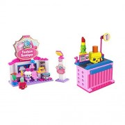 Shopkins Kinstructions Bundle Of 2 Shopping Packs: 1 Mini Pack Building Set 62 Pieces Checkout Lane With Lippy Lips And Polly Polish And 1 Building Set 119 Pieces Fashion Boutique