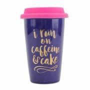 I Run on Caffeine and Cake Ceramic Travel Mug