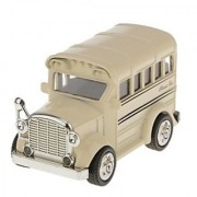 Magideal Pull Back School Bus Model Car Educational Toy Kids Gift-Khaki