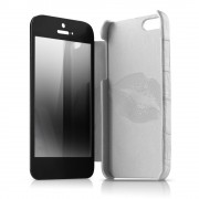 Itskins Lipstick Leather Case - кожен калъф, тип портфейл и поставка за iPhone 5, iPhone 5S, iPhone SE (бял)