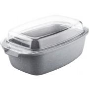 Alumínium öntött pecsenyesütő üvegfedővel 39 X 21 X 16 cm 7,5 liter LT1052