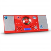 Auna MC-120 Equipo estéreo CD MP3 USB FM/AM AUX Pegatinas Rojo