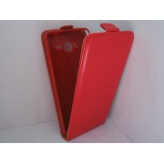 Husa flip rosie Sligo Plus New (aspect piele/interior bej) pentru telefon Samsung Galaxy Grand Prime (SM-G530F), Grand Prime Dual Sim (SM-G530H), Grand Prime VE (SM-G531F)