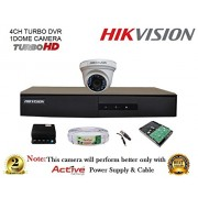 Hikvision DS-7204HGHI-F1 720P (1MP) 4CH Turbo HD DVR 1Pcs + Hikvision DS-2CE56COT-IR Dome Camera 1Pcs + 1TB HDD + Active Copper Cable + Active Power Supply Full Combo Kit.