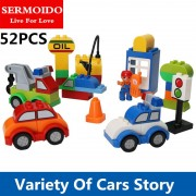 SERMOIDO 52pcs My First Creative Cars Variety of Car Story Big Size Building Blocks Bricks Baby Toy Compatible With Duplo B301