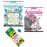 Animals and Inspirations Coloring Book for Adults 4 Piece Bundle 2 Books 24 Colored Pencils and Sharpener
