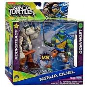 Teenage Mutant Ninja Turtles Out of the Shadows Ninja Duel Rocksteady vs Leonardo 5 Action Figure 2-Pack