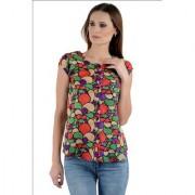 Klick2Style Polycrape Multi Color Leaf Print Top TOP2028-Mlti