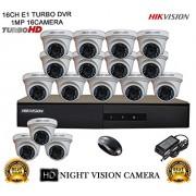 HIKVISION 16CH- DS-7216HGHI-E1-Turbo-HD-720P-DVR + HIKVISION DS-2CE56COT-IR TURBO DOME CAMERA 16pcs KIT