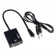 Micro mikro HDMI VGA átalakító adapter + audió hang konverter