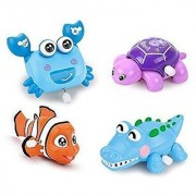 IQAngelWIND-UP Toys Stocking Stuffers Souptoys Animal for Kids Baby and Toddler 4 pcs(crocodile+crab+clownfish+ sea turtle)NO-1