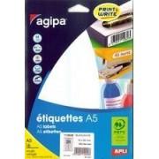 Agipa Etiquettes - Étiquettes Adhésives Permanentes - Blanc - 12.8 X 38 Mm 720 Étiquette(S) ( 16 Feuille(S) X 45 )