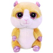 BabyCentre Suki Gifts Lil Peepers Fun Biscuit Hamster Plush Toy with Pink Sparkle Accents (Small, Beige/White)