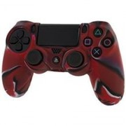 Pro Soft Silicone Protective Cover With Ribbed Handle Grip Camo Red PS4