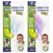 Baby Buddy Baby's 1st Toothbrush Teether-Innovative 6-Stage Oral Care System Grows With Your Child-Stage 4 for Babies/Toddlers-Kids Love Them, Pink 2 Pack