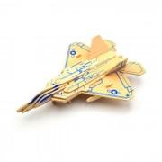 Madera 3D Building Blocks Puzzle modelo de los aviones - azul + amarillo