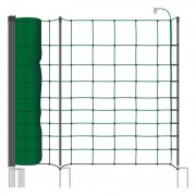 VOSS.farming farmNET+ 50 m sheep fence, sheep netting, goat fence, 108 cm, 20 posts, 2 spikes, green