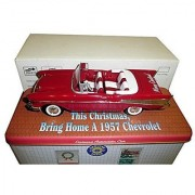 Eastwood Automobilia Christmas Collectables Red 1957 Chevrolet Roadster Die Cast Model Car in Decorative Tin