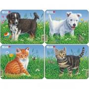 Set 4 Puzzle-uri Caini si Pisici, 6 piese Larsen LRM13-NO