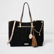River Island Womens Black studded chain winged tote bag