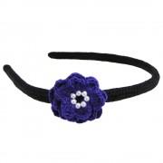Cordeluta de par, dama, Buticcochet, crosetata manual, Negru, cu floare Albastru