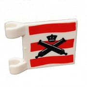 Lego Parts: Flag 2 x 2 Square with Crossed Cannons over Red Stripes