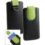 Emartbuy Black / Green Plain Premium PU Leather Slide in Pouch Case Cover Sleeve Holder ( Size LM2 ) With Pull Tab Mechanism Suitable For Lava A82