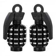 CTSmart Grenade Style Bike / Motorcycle Wheel Tire Tyre Valve Dust Cap Cover - Black (2pcs)