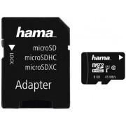 Card de memorie Hama microSDHC, 8GB, Clasa 10, UHS-I, pana la 45 MB/s + Adaptor SD