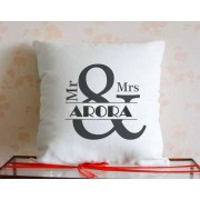 Mr and Mrs Personalized Surname Single Cushion