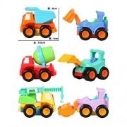 Set of 6 Kids Toddler Construction Vehicles Set,Include Bulldozer,Excavator,Cement Mixer,Crane Truck,Steamroller...