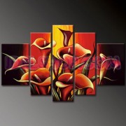 5 Quadri Moderni Fiori Calle Colore Rosso e Nero