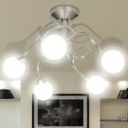 vidaXL Лампа за таван с 5 кръгли стъклени абажура, крушки тип G9