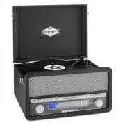 auna Epoque 1907, retro audio rendszer, gramofon, kazetták, bluetooth, USB, CD, AUX (TTS9-Epoque 1907 BK)