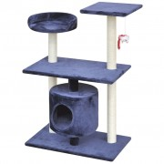 Kattenkrabpaal 92 cm 1 huisje donkerblauw