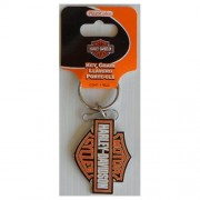 """Keychain - Harley Davidson Orange Bar Shield Enamel"""
