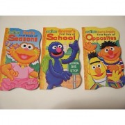 Sesame Street 3 Shaped Board Book Set ~ First Book of Opposites Seasons and First Day of School (2010)