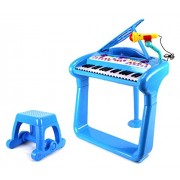 Vt Classical Elegant Piano Childrens Toy Keyboard Musical Instrument Play Set W/ Microphone, Stool, 37 Key Piano, Records & Playbacks Music (Blue)