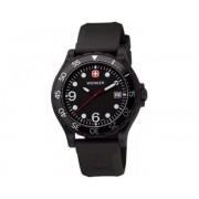Reloj Wenger Ranger dial negro bezel aluminio negro correa goma negra