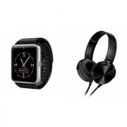 QWERTY GT08 Smart Watch & Extra Extra Bass Headphones for ASUS ZENFONE ZOOM