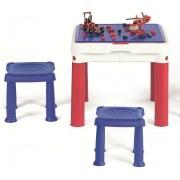 ConstrucTable építőkockázásra alkalmas gyerekasztal + 2 szék kék-piros KETER